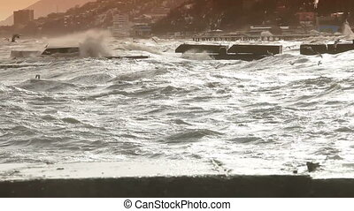 Crashing waves - power of nature, heavy seas during a storm...