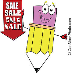 sale signage - pencil with sale sign depicting sharp...