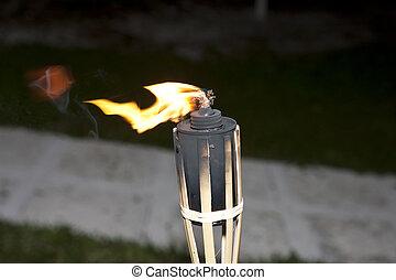 tiki, queimadura, Tochas
