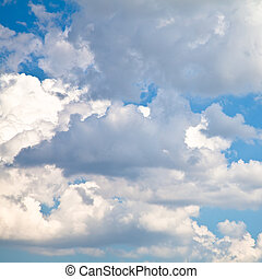 Blue Sky with White Clouds - Blue summer sky with white...