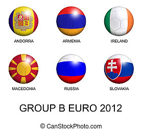 soccer balls with european flags of group B euro 2012 over white background