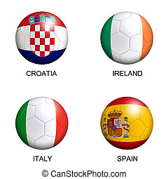 soccer balls with european flags of group C euro 2012 over white background