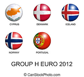 soccer balls with european flags of group H euro 2012 over white background
