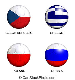 soccer balls with european flags of group A euro 2012 over white background