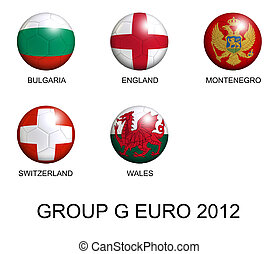 soccer balls with european flags of group G euro 2012 over white background