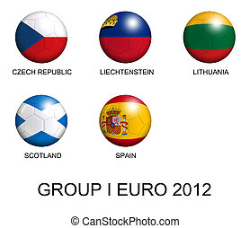 soccer balls with european flags of group I euro 2012 over white background