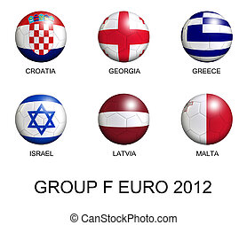 soccer balls with european flags of group F euro 2012 over white background