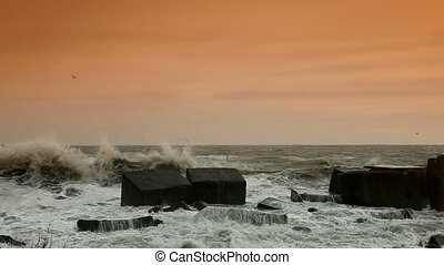 Volume Of Storm - Storm Waves Smashing Against Breakwaters...