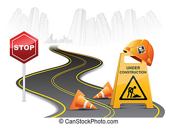 Under Construction on Road - illustration of under...