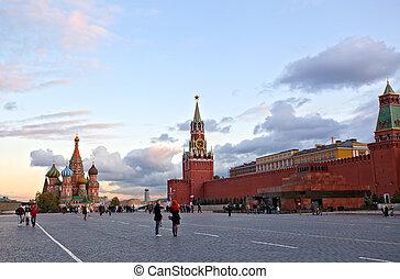 moscú, Rusia, -, septiembre, 29:, Turistas, caminata,...