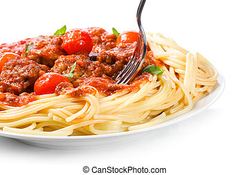 pasta with meatballs and  tomato sauce
