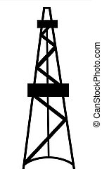 Oil and gas derrick abstract silhouette on white background