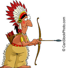 Cartoon indian - Indian on a white background, vector...