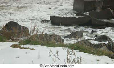 Crashing waves - power of nature, heavy seas during a winter...