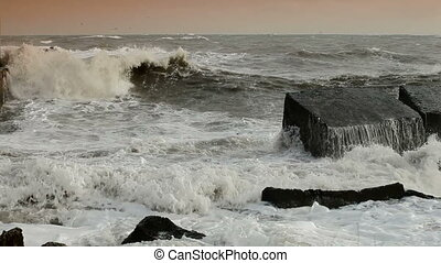 Ocean Fury - Storm Waves Smashing Against Breakwaters High...