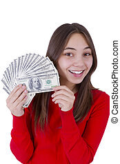 Ive Got My Paycheck - Young girl holding her paycheck, all...