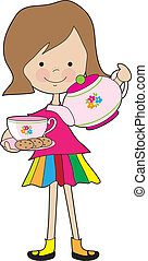 Little Girl Tea - A brightly dressed young girl, is serving...