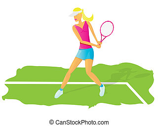 young glamour girl play tennis.