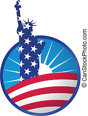 liberty icon - illustration of statue of liberty in circle...