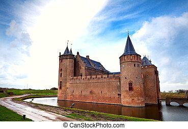 Dutch castle in Muiden - view on Dutch castle in Muiden over...