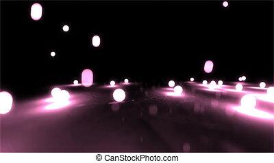pink Bouncing light balls closeup