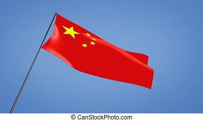 China flag low angle