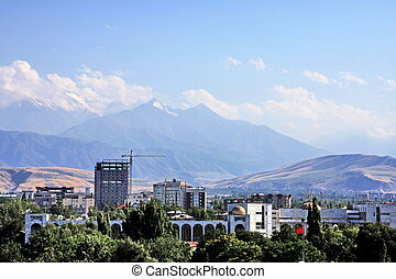 Bishkek cityscape including the gold domes of Ala Too square