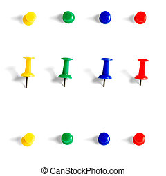 push pins collection objects isolated on white background