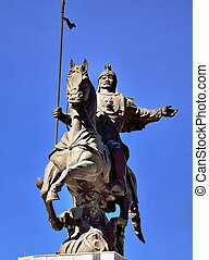 Statue of medieval warrior in Kyrg - statue of a medieval...