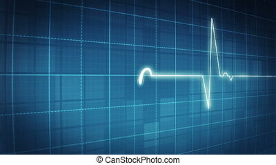 EKG electrocardiogram pulse real wa - loopable background...