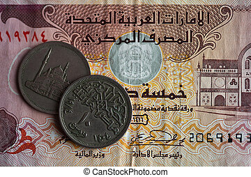 Dubai dirhams - United Arab Emirates - Dubai banknote and...