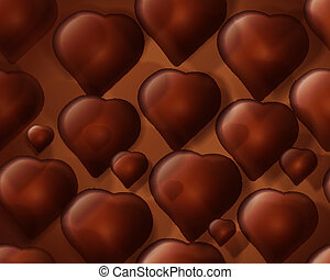 Seamless chocolate hearts background