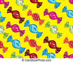 seamless boiled sweets on yellow background
