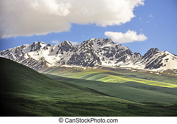 Mountain scenery in Kyrgyzstan - Dramatic mountain scenery...