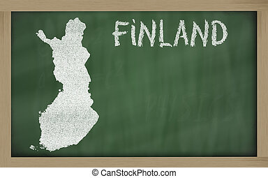 outline map of finland on blackboard - drawing of finland on...