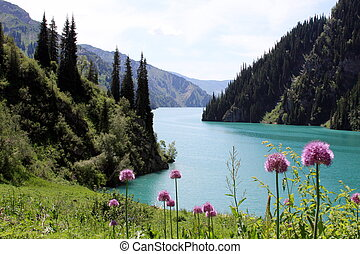 Turquoise lake in Kygyzstan