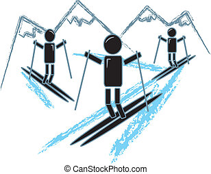 Simple Stick Figures Skiing - drawing of simple figures...