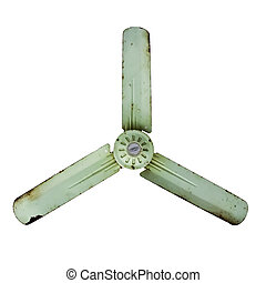 old green tree blades fan isolated on white with clipping...