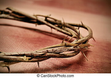 Jesus Christ crown of thorns - closeup of a representation...