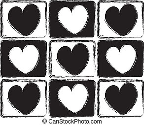 Black And White Hearts - design pattern with checkered black...