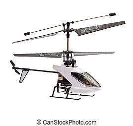 helicopter - model of radio-controlled helicopter isolated...