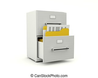 Metallic archive cabinet with folders isolated on white