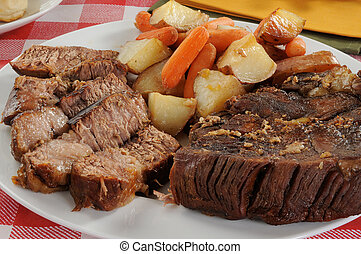 Beef pot roast - A sliced beef pot roast with autumn...