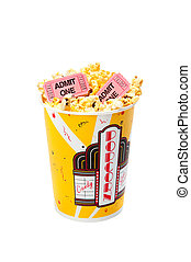 Popcorn with movie tickets - A tub of popcorn with movie...