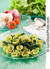 Orecchiette with Turnip tops - Italian Regional dish with...