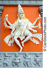 Hindu Goddess with Many Arms Temple Statue - Hindu Goddess...