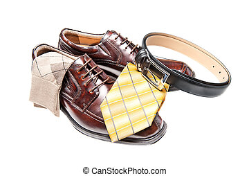 Brown leather shoes with necktie - Brown leather dress shoes...