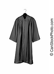 Black graduation gown - A black graduation gown isolated on...