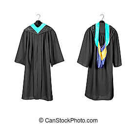 Graduation gown with hood - A front and rear view of a...