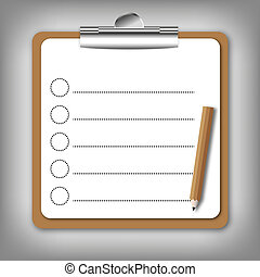 Checklist form holding on board. - Checklist form holding on...